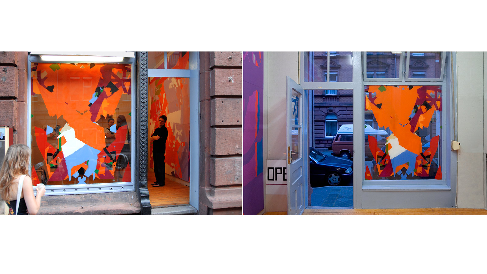 Außen- und Innenansicht: einmalamalnie (Palindorm), Sprühlack auf Plexiglas, 146×177 cm, peng Raum für Kunst 2007, Mannheim