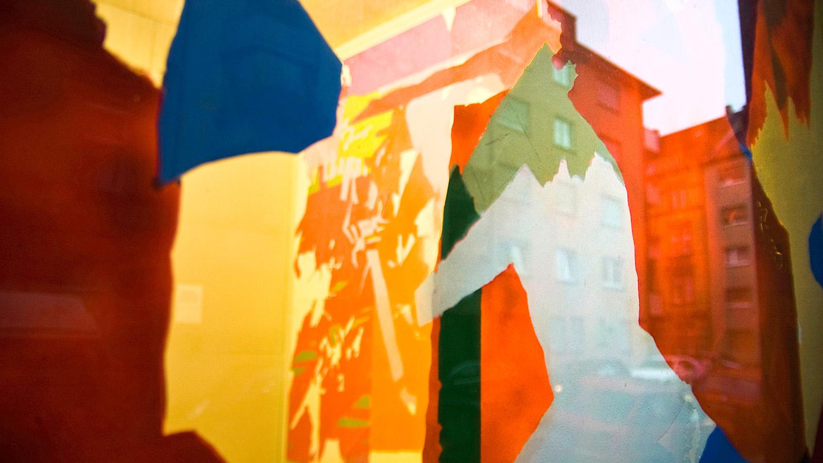 Detailansicht: einmalamalnie (Palindorm), Sprühlack auf Plexiglas, 146×177 cm, peng Raum für Kunst 2007, Mannheim