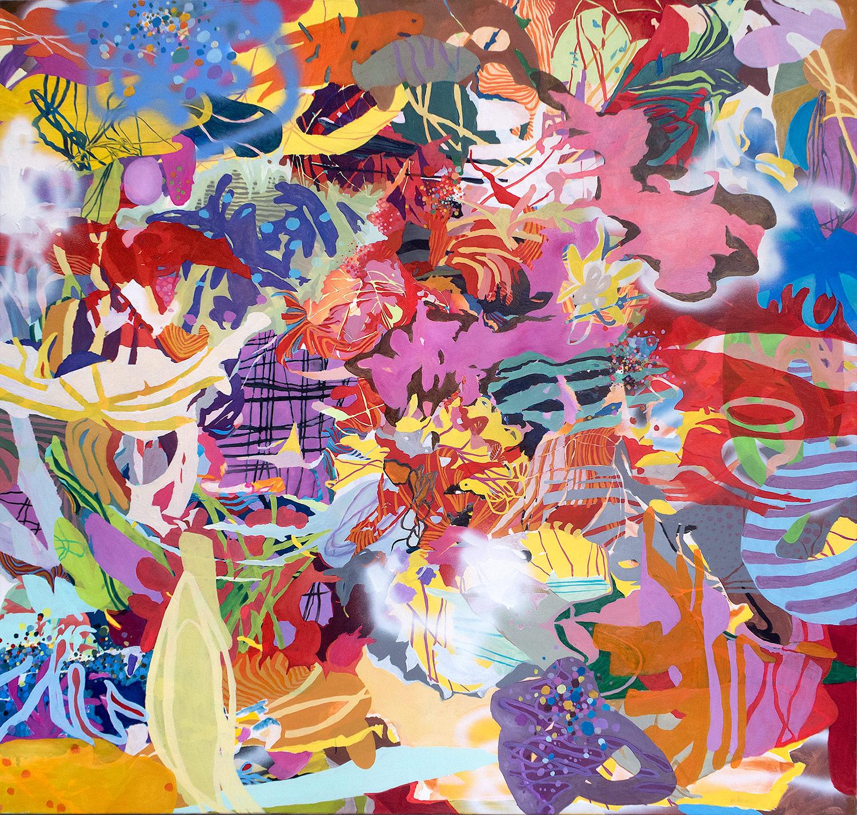 Öl, Acryl, Sprayfarbe auf Nessel, 200 x 190 cm, 2019